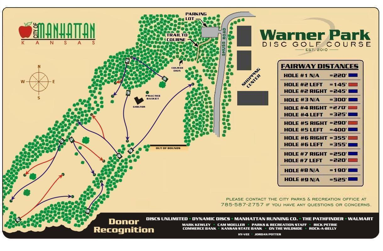Warner Park Professional Disc Golf Association Hole Diagram Course Map