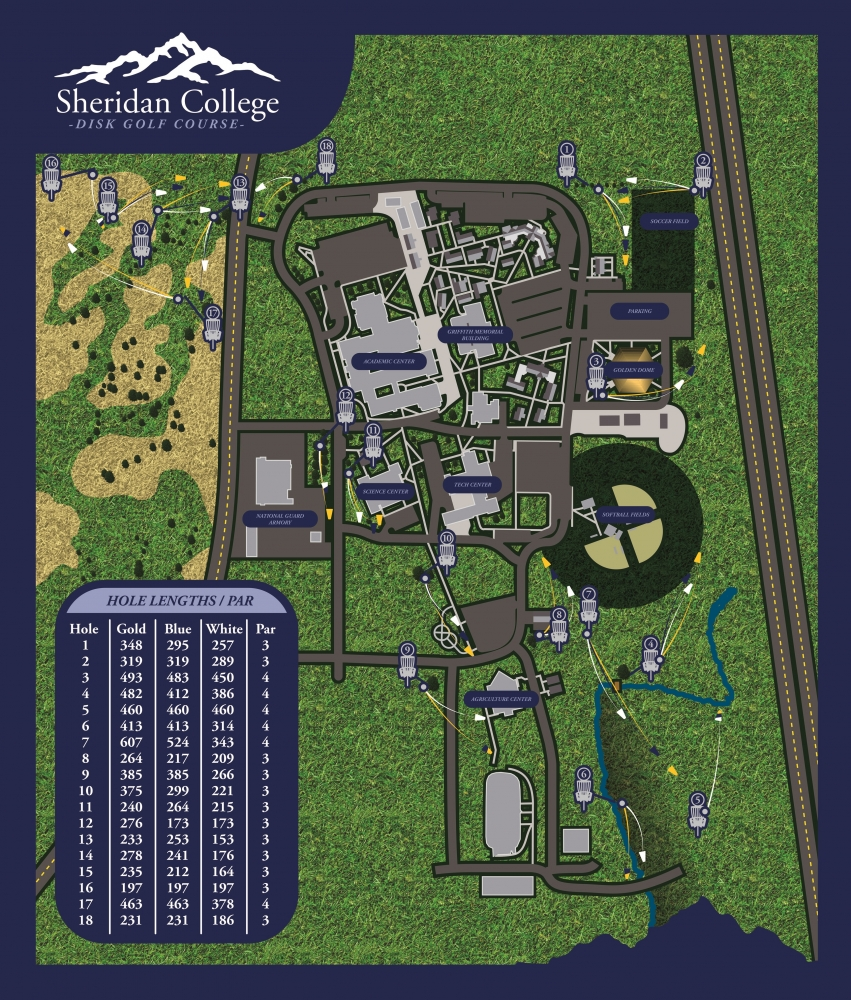 Sheridan College Frisbee Golf Course Map