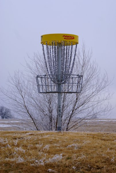 Hole 5 tee and Wooster Mound in the background
