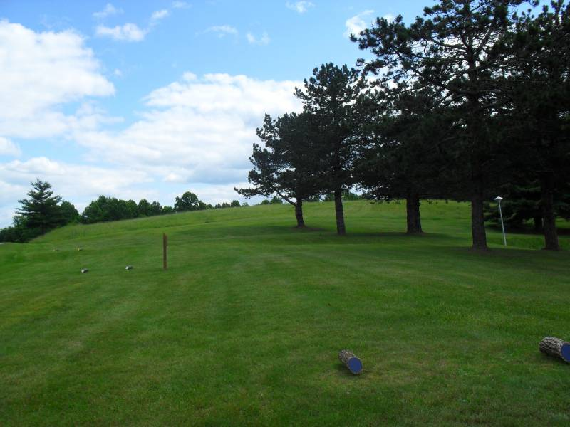 #1 Tee: Basket is located beneath trees in the distance.