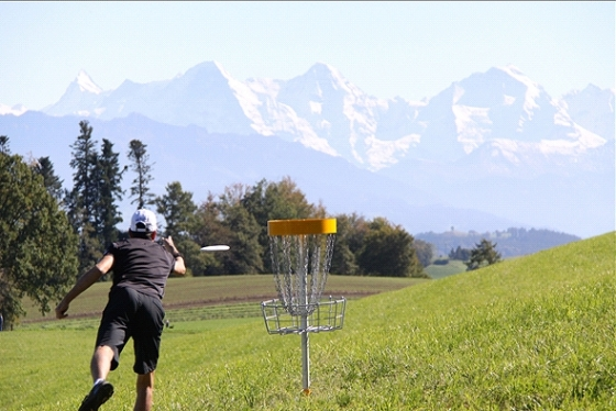 Swiss Open with Alps in Background